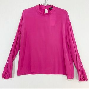 Zara TRF Collection Hot Pink Banded Collar Blouse